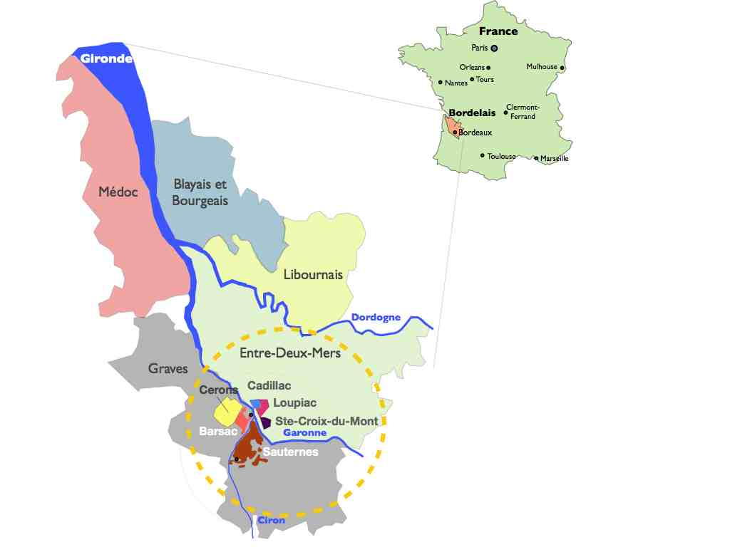 Sweet wines growing regions Garonne